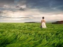 la novia en el paisaje